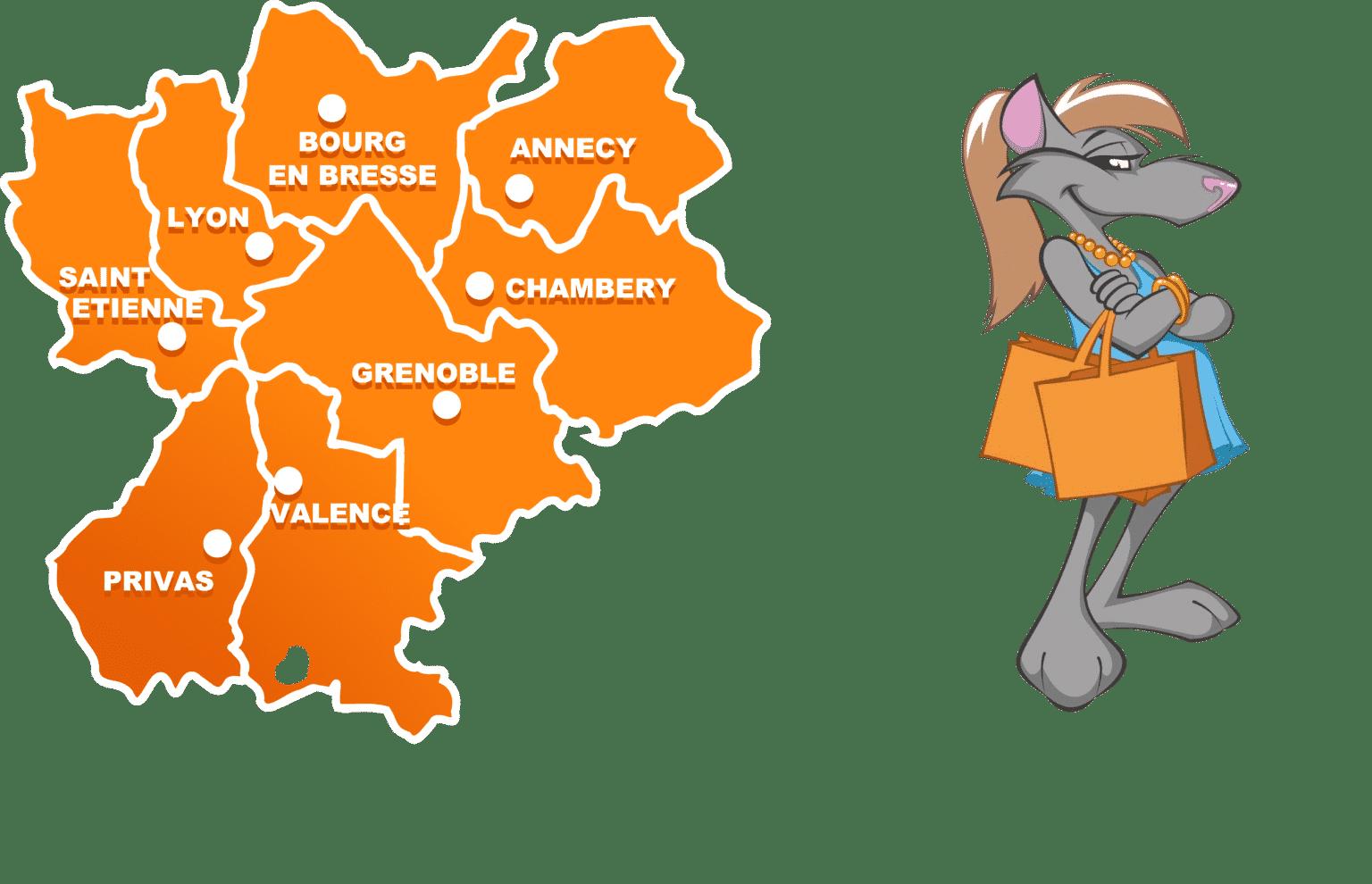 Carte Rhône Alpes.