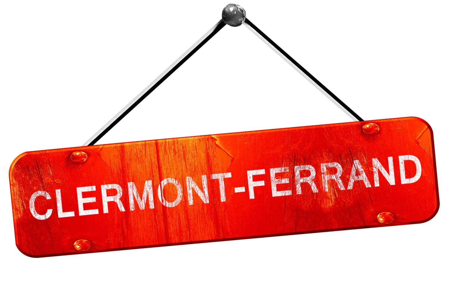 Pancarte rouge orangé, avec le nom de la ville Clermont Ferrand.