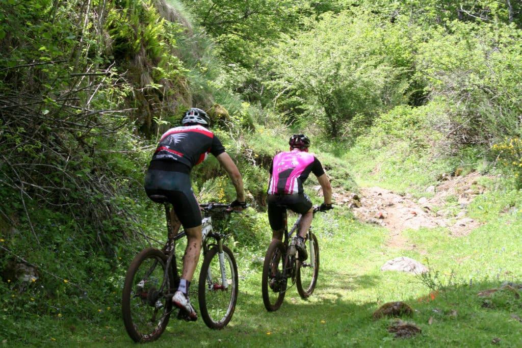 Deux randonneurs en vtt sur un chemin Auvergnat.