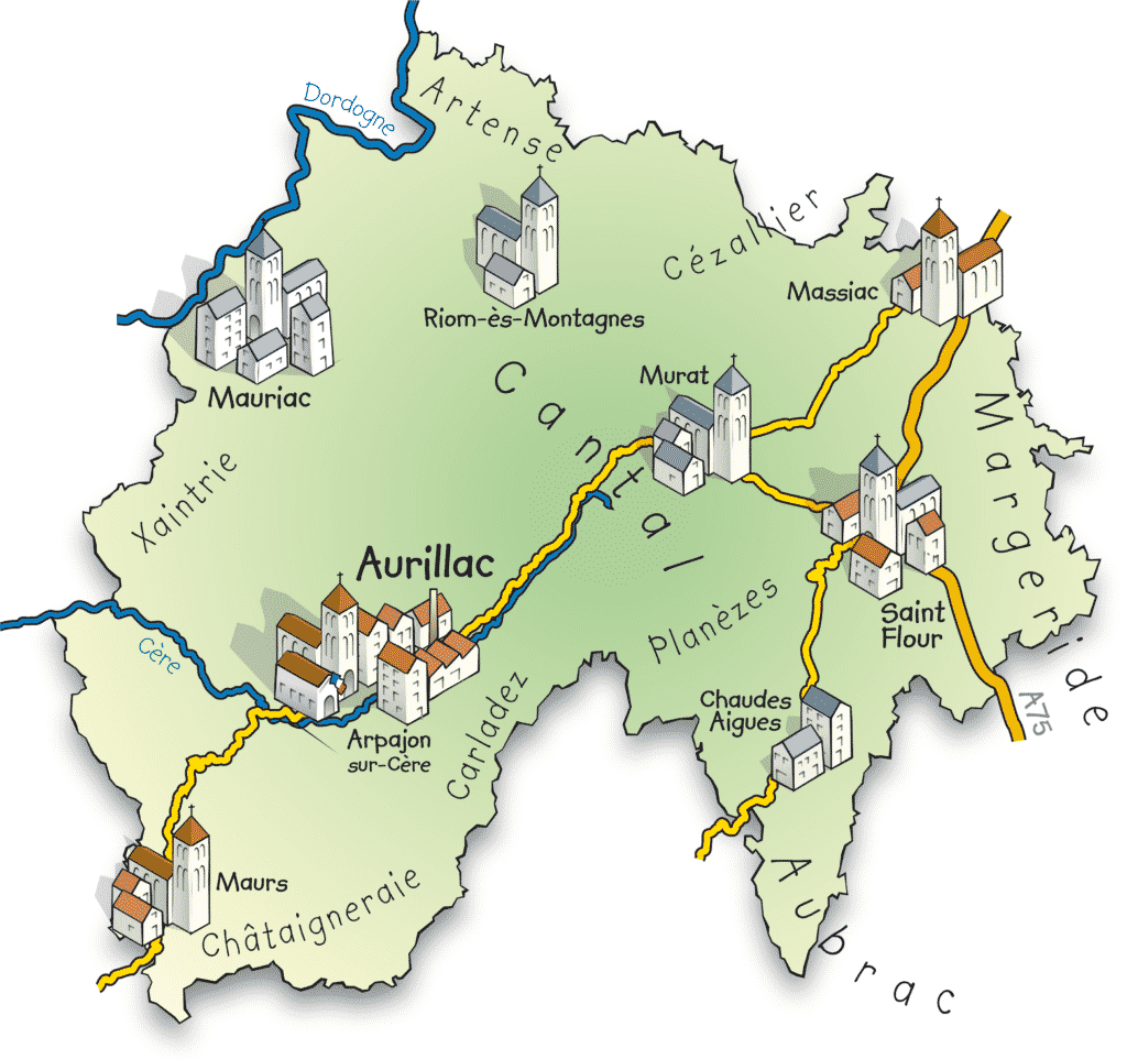 Carte représentant le département du Cantal.