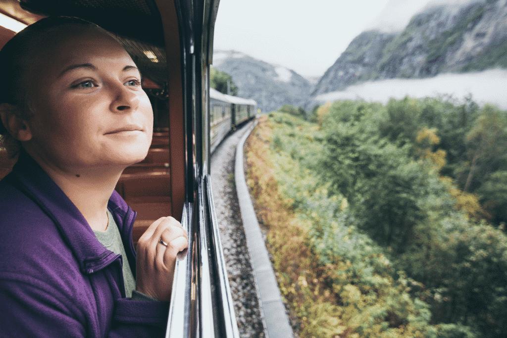 Vue sur une personne regardant à la fenêtre d'un train touristique en Haute Loire
