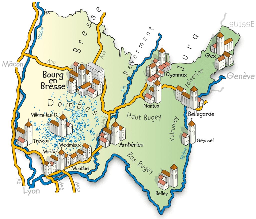 Vue sur une carte du département de l'Ain(01).