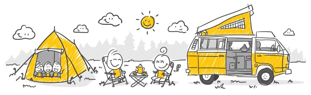 Vue sur un dessin représentant une famille au Camping.