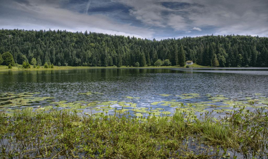 Le lac Genin prés de la ville d'Oyonnax.